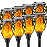 8-Pack Solar Lights Outdoor Decorative with Flickering Flame, Solar Flame Torch (Super Larger Size & Vivid Flame), Super Bright Outdoor Lights for Halloween Decorations Garden Landscape Pathway