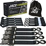 JACO Ratchet Tie Down Straps - 1.6' x 8 ft   Heavy Duty Tie Down Kit with Soft Loops - 5,208 lbs (Black)