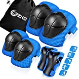 CRZKO Kids/Teenager Protective Gear, Knee Pads and Elbow Pads 6 in 24 Set with Wrist Guard and Adjustable Strap for Rollerblading Skateboard Cycling Skating Bike Scooter