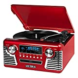 Victrola 50's Retro Bluetooth Record Player & Multimedia Center with Built-in Speakers - 3-Speed Turntable, CD Player, AM/FM Radio   Vinyl to MP3 Recording   Wireless Music Streaming   Red