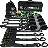 RHINO USA Ratchet Tie Down Straps (4PK) - 1,823lb Guaranteed Max Break Strength, Includes (4) Premium 1' x 15' Rachet Tie Downs with Padded Handles. Best for Moving, Securing Cargo (Black 4-Pack)