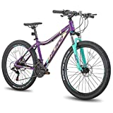 Hiland 26 Inch Mountain Bike Aluminum 21 Speed MTB Bicycle for Women 16 Inch with Suspension Fork Urban Commuter City Bicycle Purple