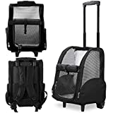 Kundu KDU-013 Deluxe Backpack Pet Travel Carrier with Double Wheels - Black - Approved by Most Airlines