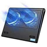 TECKNET Laptop Cooling Pad, Portable Ultra-Slim Quiet Laptop Notebook Cooler Cooling Pad Stand with 2 USB Powered Fans, Fits 12-16 Inches (Blue)