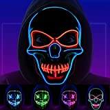 Halloween Purge Mask, LED Light Up Scary Skull Mask for Women Men Boys Girls Festival Costume Cosplay Party Masquerade Carnival (Blue+Red)
