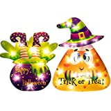 JOYIN 2 Pack Halloween Decorations Window Silhouette Holiday Display, LED Light Up Halloween Window Light, Lighted 17'' Candy Corn and 12'' Witch Legs for Party Home Indoor Tabletop Halloween Ornament