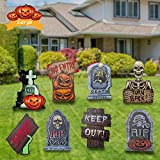 8PCS Halloween Decorations Outdoor,Large Halloween Yard Sign with Stake Waterproof Pumpkin Gnome Ghost Monster Corrugate Yard Signs for Garden Lawn Party Yard Decorations Outside