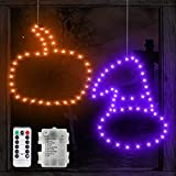 TURNMEON 2 Pack 16' Halloween Witch Hat Pumpkin Window Lights Decor with Timer 8 Mode Remote Control Waterproof Battery Operated Halloween Indoor Outdoor Decorations Home Party (Purple, Orange Lights)