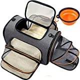 Pet Travel Carrier, TSA Airline Approved Dog Carrier Cat Carrier, Expandable Folding Pet Backpack for Small Dog Medium Cat 14 Lbs, Soft Sided Collapsible Puppy Carrier with Bowl