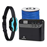 Electric Dog Fence - Pet Containment System Rechargeable Waterproof Collar Receivers with 656Ft Underground Auto-Sensing Electric Boundary Wire for Small Medium Large Dogs or Cats