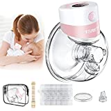 Breast Pump Electric,Wearable Breast Pump,Hands Free Breast Pump,Portable Breast Pump with 2 Modes,9 Levels,LCD Display,Memory Function Rechargeable Single Milk Extractor with Massage Mode-27mm Flange