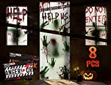 """KD KIDPAR 8Pcs Halloween Window Door Decoration Covers Set, Includes 4Pcs 60x30"""" Window Clings&2Pcs 80x36"""" Door Posters with Scary Bloody Handprints&2 Fright Tape, Indoor and Outdoor Décor for Party"""