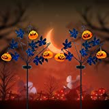 OBABA Solar Halloween Yard Decorations 30 Inches,2 Pack Pumpkin Outdoor LED Solar Powered Lighting Metal Stakes Light Party,Garden,Landscaping,Lawn,Yard Decor