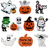 GameXcel 10PCS Yard Signs for Halloween Props Yard Stakes Pumpkin Ghost Monster Yard Sign Stakes for Halloween Decorations Outdoor Lawn Decor Yard Decorations