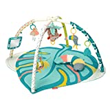 Infantino 4-in-1 Deluxe Twist & Fold Activity Gym & Play Mat, Tropical - Includes linkable Toys, Musical Monkey, Mirror and Bolster Pillow, for Newborns, Babies and Toddlers