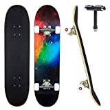 JECOLOS Pro Complete Skateboards for Beginners Adults Teens Kids Girls Boys 31'x8' Skate Boards 7 Layers Deck Maple Wood Longboards (Nebulae)