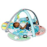 Infantino 5-in-1 Epic Developmental Learning Gym - 3 Play Modes, 5 Must-Have Baby Basics, Prop-Up Bolster, On-The-Go Activities, High Contrast Flashcards, Adjustable/Removable Arches, 32' Giant Mat