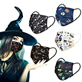 Black Disposable Face Masks with Design,Colorful Happy Halloween Holiday Print Decorations,Pumpkin,Ghost,3 PLY Scary Skull Masquerade Cute Cosplay Colored Breathable Mask for Adults Women Men,50 Pack