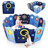 Yoleo Baby Playpen Fences for Toddlers Kids Play Yards Indoor Safety Gate Foldable Home Activity Center (14 Panels)
