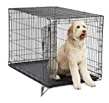 XL Dog Crate MidWest I Crate Folding Metal Dog Crate w/ Divider Panel, Floor Protecting Feet & Leak Proof Dog Tray 48L x 30W x 33H Inches, XL Dog Breed, Black
