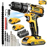 JayLene 21V Cordless Drill Set, Power Drill 59Pcs with 3/8 Inch Keyless Chuck, 25 3 Clutch Electric Drill with Work Light, Max torque 45Nm, 2-Variable Speed & 2 Batteries and Fast Charger