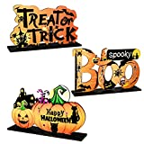 CREPUSCOLO 3 Pcs Halloween Wood Centerpiece Signs- Happy Halloween Table Decoration Wood Table Toppers Treat or Trick Wall Sign Ornament Decorations for Yard Door Party Prop School Home Office