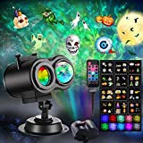 Halloween Christmas Projector Lights Outdoor, 22 HD Effects (3D Ocean Wave & Patterns) Waterproof with RF Remote Control Timer for Indoor Holiday Party Home Garden Decorations