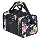 SUPPETS Dog Carrier Airline Approved Cat Carrier Pet Carrier Breathable Mesh Pet Travel Carrier for Dogs Cats with Washable Portable Mat,Detachable Shoulder Strap,Blue Peony