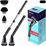GENIANI Electric Spin Scrubber - 360 Cordless Powerful Scrub Brush for Cleaning Bathroom, Tile, Floor, Tub and Shower with Adjustable Extension Handle and 3 Replaceable Rotating Brush Heads (Black)