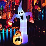 12 Ft Halloween Inflatable Ghost with Scary Bloodshot Eye Decorations Build-in LEDs Blow Up Party Decoration for Outdoor Indoor Holiday Yard Lawn