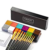CCbeauty Professional Face Body Paint Kit 12 Colors Halloween Body Paint Oil Based Party Fancy Make Up Non Toxic SFX Cosplay Makeup Palette with 10 Black Brushes,Deep