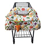 Boppy Shopping Cart and High Chair Cover | 2-Point Safety Belt | Wipeable, Machine Washable | 6-48 Months | Multi-Color Farmers Market Veggies with Attached Plush Carrot Toy