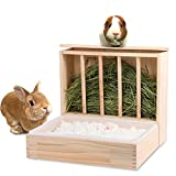 Mochidoki Rabbit Hay Feeder and Litter Pan Combo, Wooden Hay Feeder for Rabbit and Guinea Pig,Self Stand Feeding Manger for Rabbit and Guinea Pig,Large Hay Dispenser with Litter Box Toilet