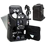 USA GEAR DSLR Camera Backpack Case - 15.6 inch Laptop Compartment, Padded Custom Dividers, Tripod Holder, Rain Cover, Long-Lasting Durability and Storage Pockets - Compatible with Many DSLRs (Black)