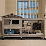 Bunny Cage Indoor and Outdoor Rabbit Hutch with Casters Waterproof Roof, Pull Out Tray from Back and Front