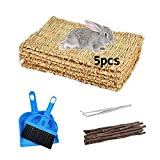 kathson 5 Pack Bunny Grass Mats Woven Rabbit Bed Mat Bedding Nest Chew Toy Natural Straw Bed Play Toys for Guinea Pig Hamster Chinchilla Parrot