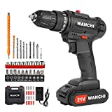 Cordless Drill,WANCHI 21V Li-Ion Battery Power Drill Set,Electric Drill 3/8 Keyless Chuck,25+1 Torque Setting, 49pcs Accessories,2-Variable Speed for Drilling and Screwdriving
