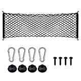 BDFHYK Cargo Net, Adjustable Elastic Rear Truck Net with 4 Metal Hooks, Universal Double-Layer Storage Organizer, Automotive Cargo Nets for SUV, Cars, 43.3x15.7 inches
