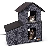 K&H PET PRODUCTS Two-Story Outdoor Heated Kitty House with Dining Room Heated Gray Leaf 22 X 27 X 27 Inches