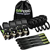 Sunferno Ratchet Straps Tie Down 2500Lbs Break Strength, 15 Foot - Heavy Duty Straps to Safely Move your Motorcycle and Cargo on Car, Truck, Trailer - Includes 4 pack Soft Loop Straps - Black (4 pack)