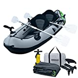 Elkton Outdoors Cormorant 2 Person Tandem Inflatable Fishing Kayak, 10-Foot with EVA Padded Seats, Includes 2 Active Fishing Rod Holder Mounts, 2 Aluminum Paddles, Double Action Pump and More