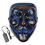 Jofan Halloween Scary Mask LED Light Up Mask for Adults Kids Halloween Party Decorations Festival Cosplay Halloween Costumes Props (Blue)