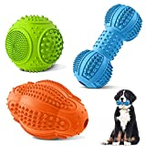 Dog Chew Toys 3 Pack, Dog Toys for Aggressive Chewers Large Breed, Multifunctional Teeth Cleaning and Gum Massage, Tough Dog Toys with Natural Rubber for Large and Medium Dog