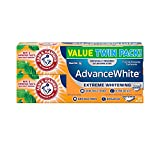 ARM & HAMMER Advanced White Extreme Whitening Toothpaste, TWIN PACK (Contains Two 6oz Tubes) -Clean Mint- Fluoride Toothpaste