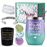 Birthday Gifts for Women, Thank You Gifts Get Well Soon Gifts You Are Awesome Wine TumblerGift Set With InspirationalBangle Bracelet -Christmas Gift Basket for Mom, Wife, Sisters, Friends
