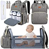 DEBUG Baby Diaper Bag Backpack with Changing Station Diaper Bags for Baby Bags for Boys Girl Diper Bag with Bassinet Bed Mat Pad Men Dad Mom Travel Waterproof Stroller Straps Large Capacity Grey