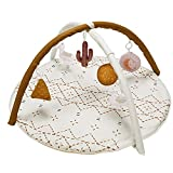 Baby Play Mat, Macrame Activity Gym Stage-Based Sensory and Motor Skill Development Language Discovery Baby Play Gym and Playmats for Newborn with 6 Featured Toys Thicker and Non Slip Mat Washable