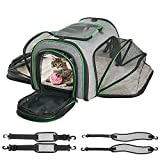 Cat Carrier,Minthouz Four-side Expandable Pet Carrier Airline Approved Dog Carrier with Safty Leash and Shoulder Straps,Collapsible Puppy Carrier with Self-lock Zippers,Removable Fleece Pad and Pocket