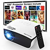 Outdoor Projector with 100 Inch Projector Screen, 1080P Supported Movie Projector, 5500 Lux Portable Projector, Nic pow Mini Video Projector, Compatible with TV Stick/PS4/PC/Laptop/Smartphone