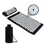 ZIOKOU Acupressure Mat and Pillow Set, Neck and Back Pain Relief, Muscle Relaxation, Acupoint Acupuncture Massage Mat with Cotton Carrying Bag (Black)